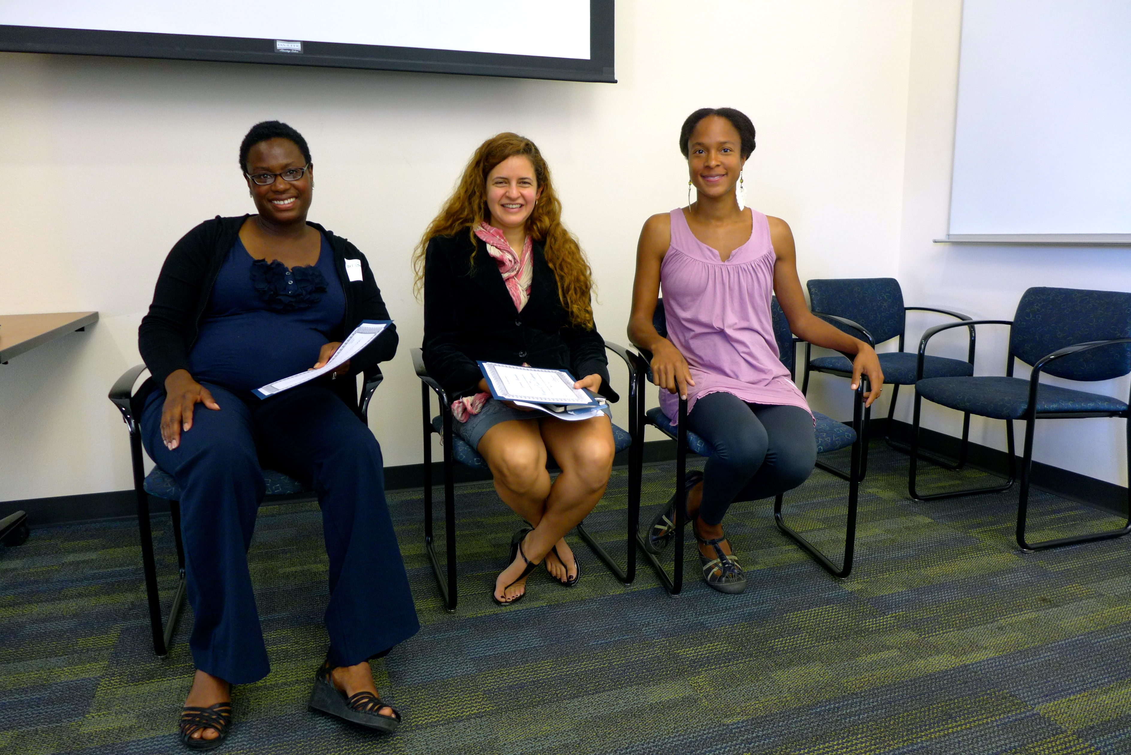 From Let to Right: Mariama Gray, Giovanna Montenegro, and A. Breeze Harper at the 1st Annual Women of Color Research Conference at UC Davis.